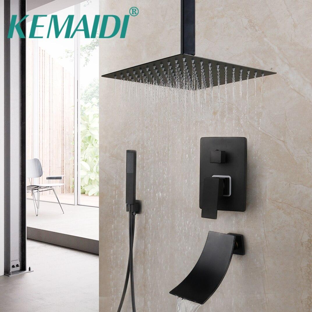 KEMAIDI Matte Black Bathroom Shower Faucet Rainfall Tub LED Bathtub Rain Square Shower Head Waterfall Shower Faucet Set
